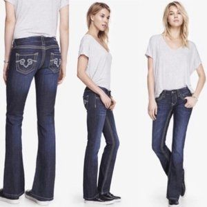 Rerock for Express Dark Wash Thick Stitch Barely Boot Embellished Jeans 6S